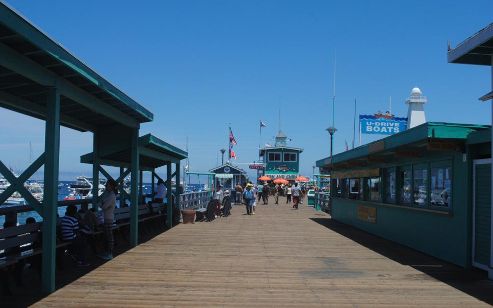 The restaurant sits on the pier, so as you eat you can see all the way to the bottom of the seabed.