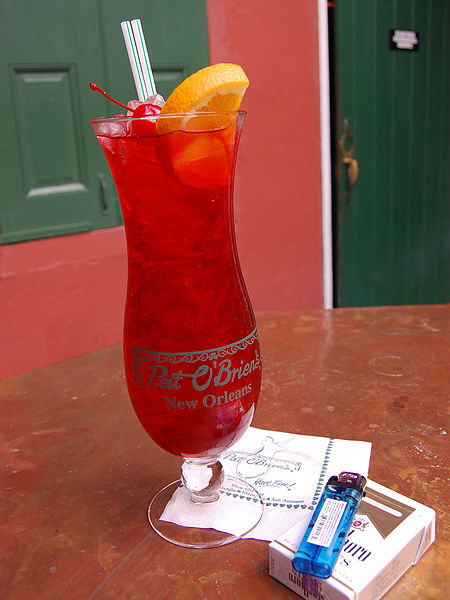 More New Orleans cocktails - Hurricane at Pat O'Briens (Wikimedia)