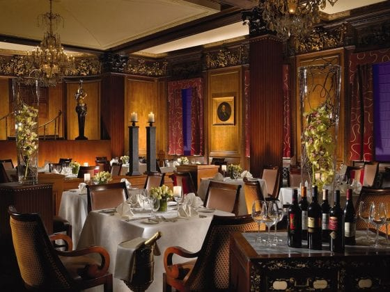 The historic dining room at Omni Parker House, Boston.