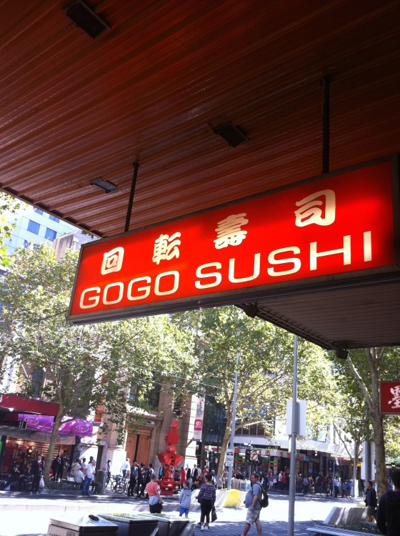 Look for the orange sign. Go Go Sushi rules.